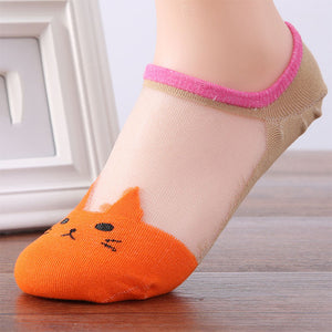 Cute Transparent Ankle Socks - Cat Fantasy World