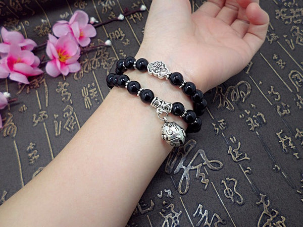 Beaded Black Onyx Cat Bracelet - Cat Fantasy World