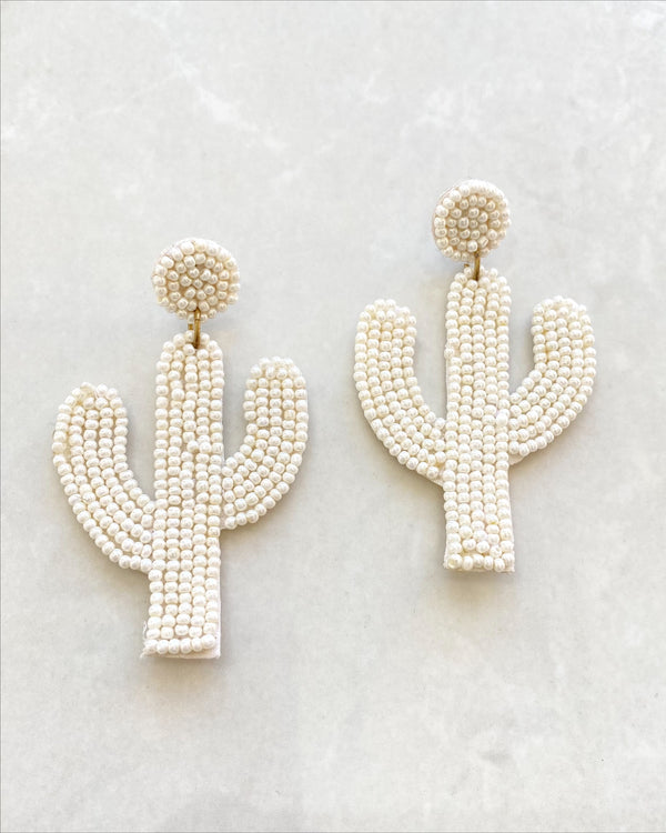 White Cactus Earrings