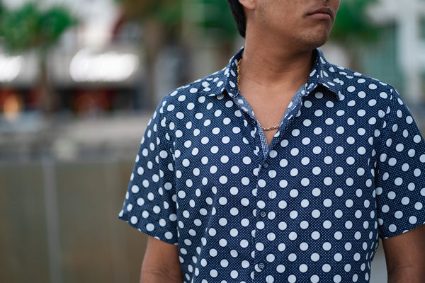 Blue polcka shirt