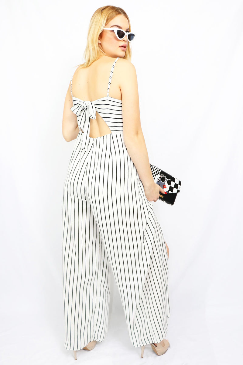 White and black tie back jumpsuit