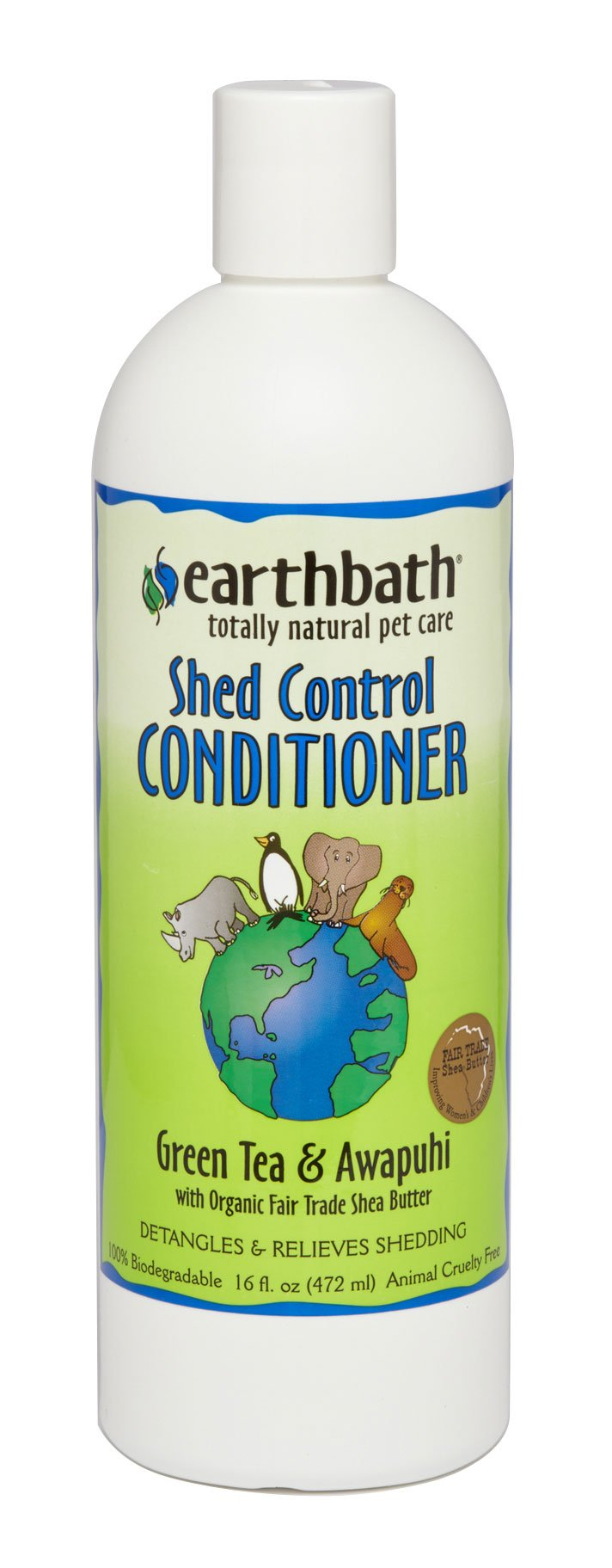 Shampoo & Conditioner - Earthbath Shed Control Conditioner, Green Tea Scent With Awapuhi, 16 Oz