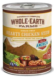 Canned - Whole Earth Farms Hearty Chicken Stew Canned Dog Food, 12/12.7 Oz