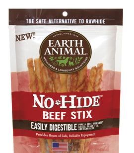 Earth Animal No-Hide Stix Beef Dog Chews, 3 oz
