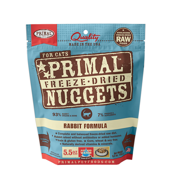 Primal Freeze Dried Rabbit Cat Food 5 5 Oz Pets By Nature