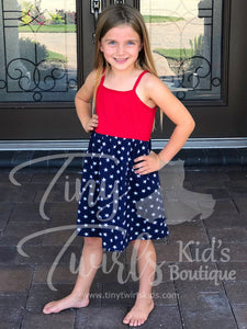 All American Girl Tank Dress - Tiny Twirls Kids Boutique
