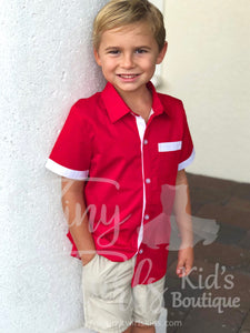 Boy's Christmas Dress Shirt - In-Stock - Tiny Twirls Kids Boutique