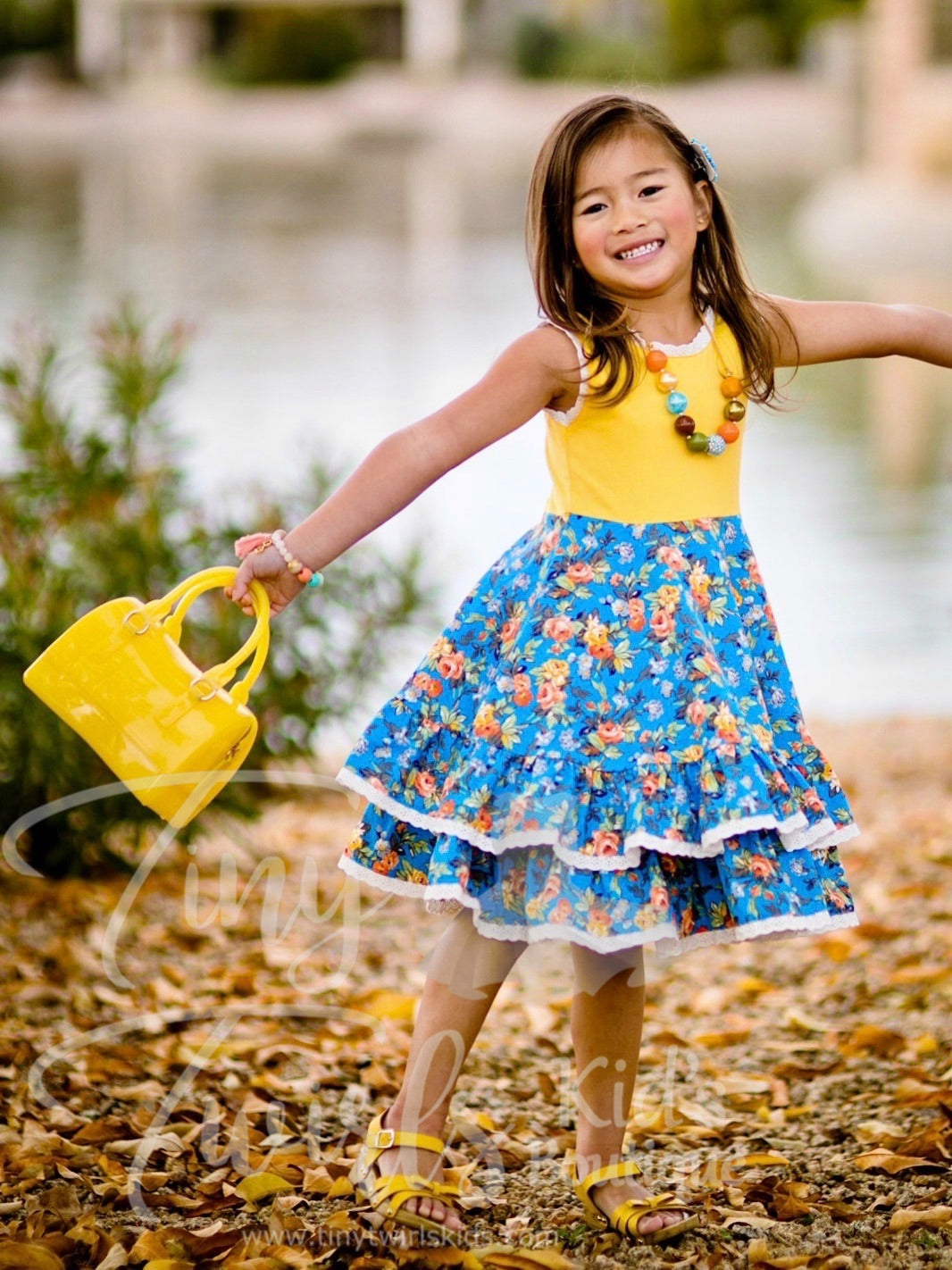 Yellow and Blue Floral Double Twirl Dress with Lace Trim - In-Stock