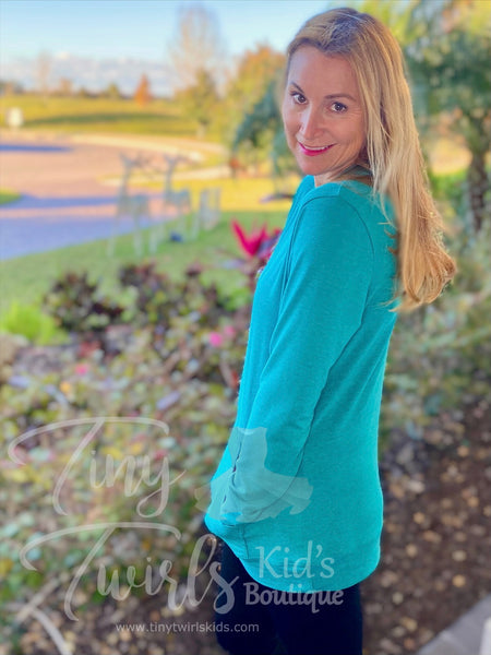 Woman's Teal T-Shirt Hoodie - In-Stock - Mommy & Me