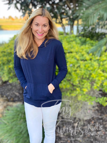 Woman's Navy T-Shirt Hoodie - In-Stock - Mommy & Me