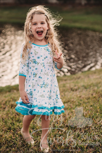 White and Blue Floral Twirl Dress - In-Stock