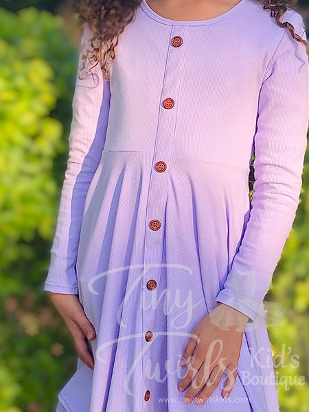 Iced Purple Ribbed Cotton Twirl Dress - In-Stock