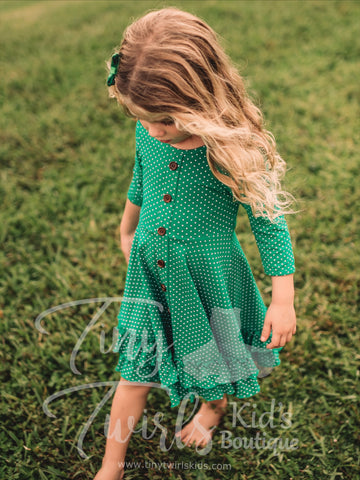 Green Polka Dot Twirl Dress - In-Stock