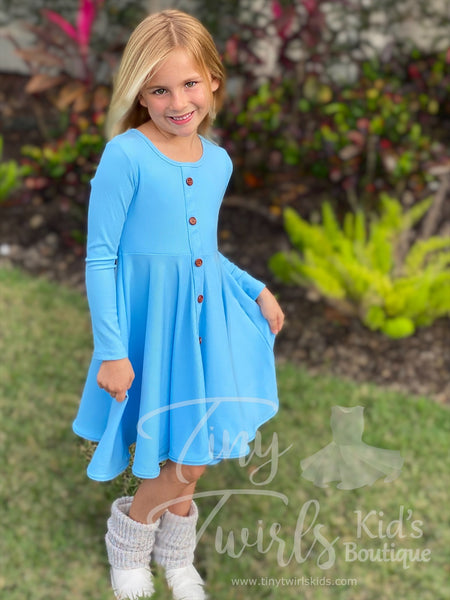 Winter Blue Ribbed Cotton Twirl Dress - In-Stock