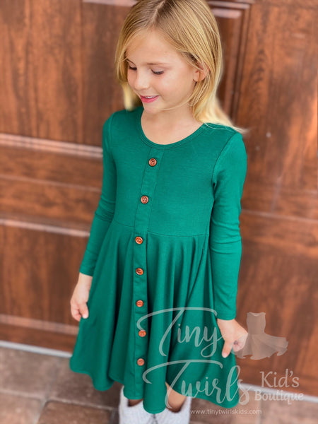 Forest Green Ribbed Cotton Twirl Dress - In-Stock