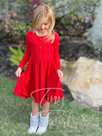 Red Ribbed Cotton Twirl Dress - In-Stock