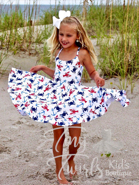 Lobster/Crab/Anchor Twirl Dress - In-Stock