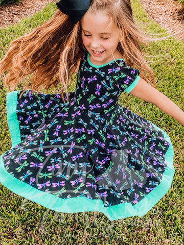 Dragonfly Twirl Dress - In-Stock