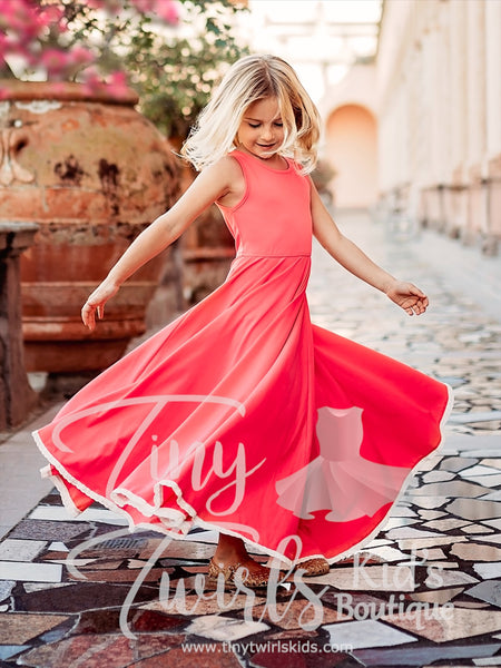 Coral Maxi Dress with Lace - In-Stock - Tiny Twirls Kids Boutique