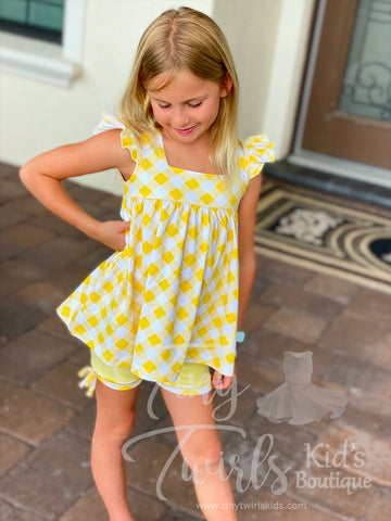 Yellow Gingham Shorts Set - Pre-Order