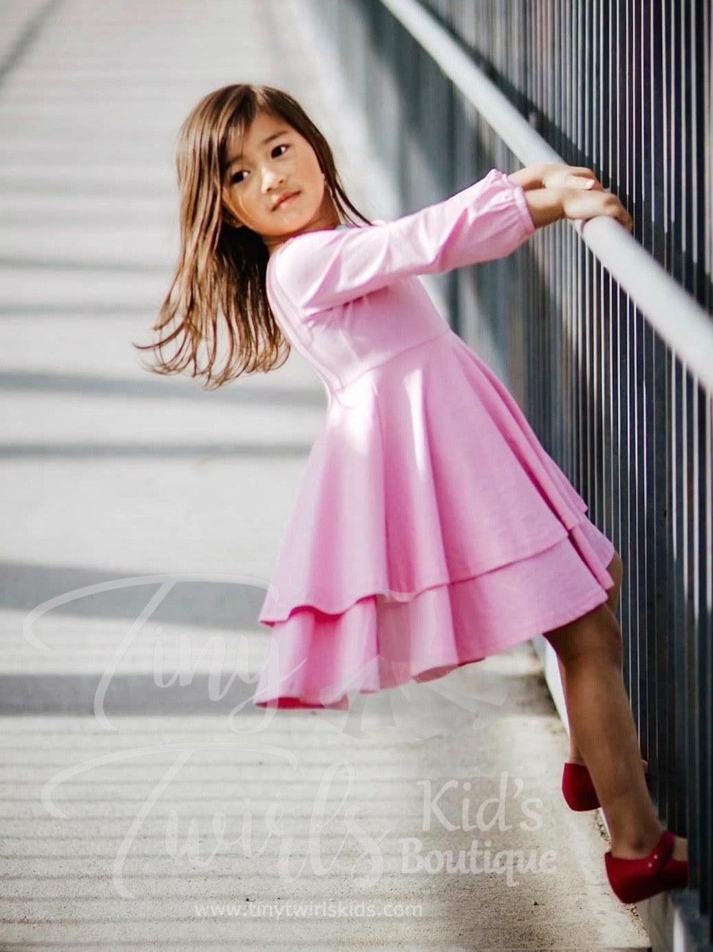 Cotton Candy Pink Double Twirl Dresses - In-Stock