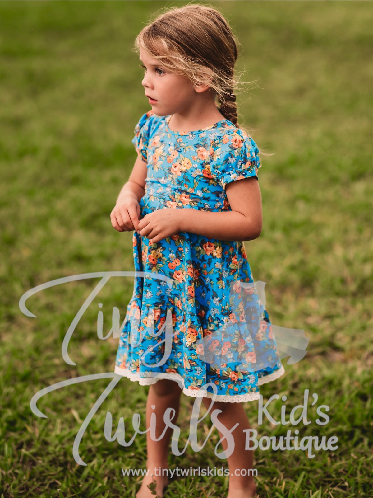 Blue Floral Twirl Dress with Lace Trim - In-Stock