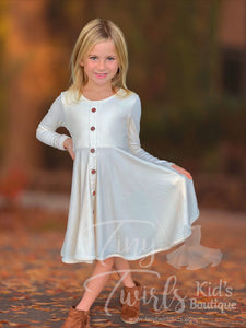 Cream Ribbed Cotton Twirl Dress - In-Stock