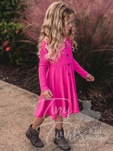 Pink Ribbed Cotton Twirl Dress - In-Stock