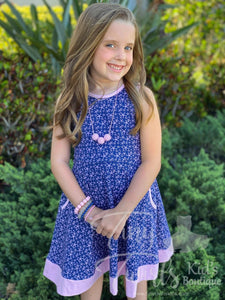 Starfish Navy and Pink Twirl Dress - Pre-Order