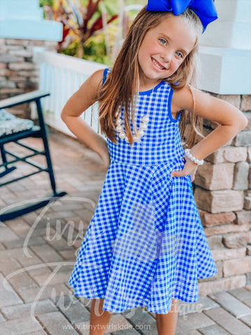 Royal Blue Gingham Tank Twirl Dress - In-Stock