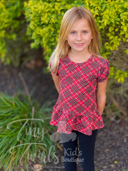Plaid Peplum Top - In-Stock - Mommy & Me