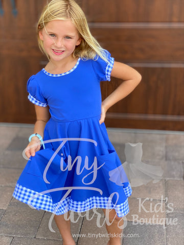 Blue Pocket Twirl Dress with Gingham Trim - Pre-Order
