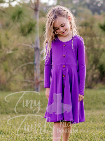 Purple Ribbed Cotton Twirl Dress - In-Stock