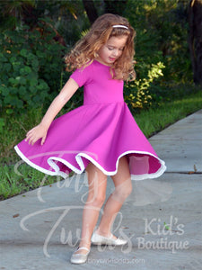 Plum Lace Trim Twirl Dress - In-Stock - Tiny Twirls Kids Boutique