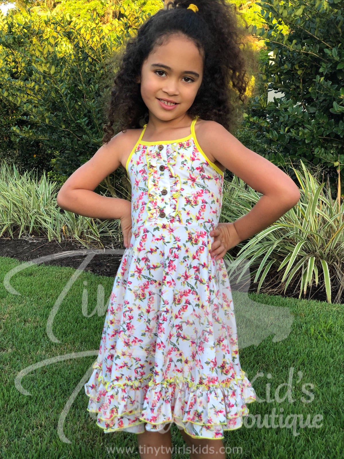 White and Yellow Double Ruffle Twirl Dress - In-Stock - Tiny Twirls Kids Boutique