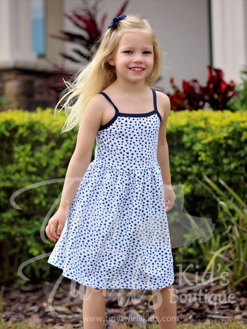The Perfect Tank Dress, Navy and White Stars - In-Stock - Tiny Twirls Kids Boutique