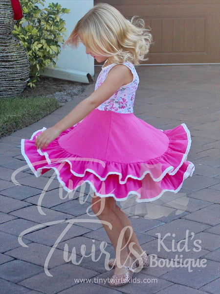 Pink Floral Double Twirl Dress with Lace Trim - Pre-Order - Tiny Twirls Kids Boutique