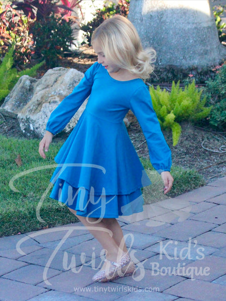 Peacock Blue Double Twirl Dresses - In-Stock