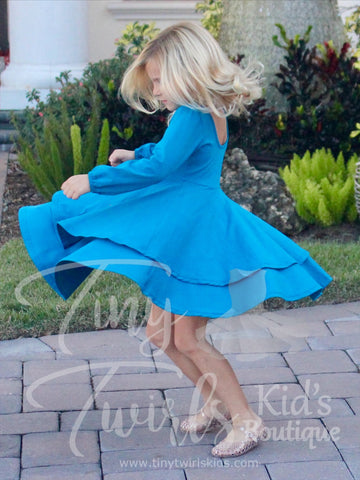 Peacock Blue Double Twirl Dresses - In-Stock - Tiny Twirls Kids Boutique