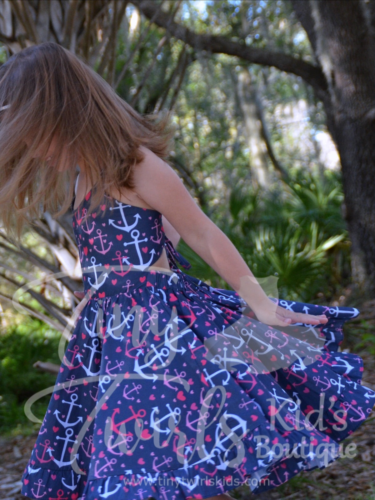 Anchors Away Twirl Dress - In-Stock - Tiny Twirls Kids Boutique