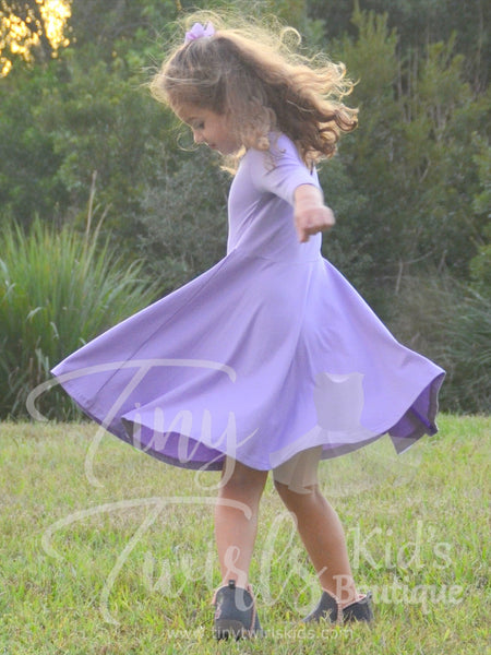 Lavender 3/4 sleeve Solid Twirl Dress - In-Stock - Tiny Twirls Kids Boutique