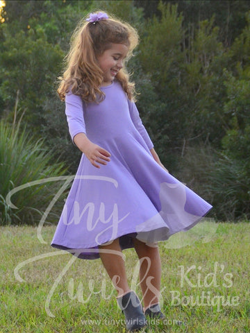 Lavender 3/4 sleeve Solid Twirl Dress - In-Stock
