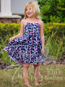Navy and Pink Double Ruffle Twirl Dress - Pre-Order
