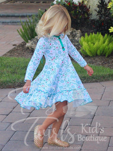 White/Teal Floral Wonderland Twirl Dress - In-Stock - Tiny Twirls Kids Boutique