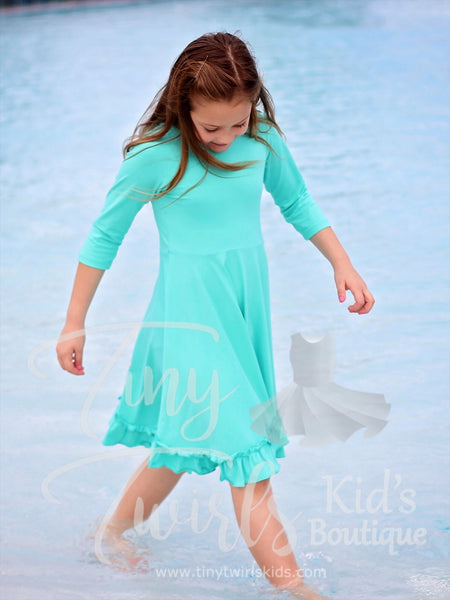 Mint 3/4 sleeve Solid Twirl Dress - In-Stock - Tiny Twirls Kids Boutique
