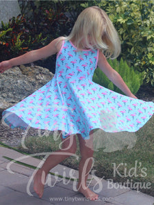Flamingo Tank Twirl Dress - In-Stock - Tiny Twirls Kids Boutique