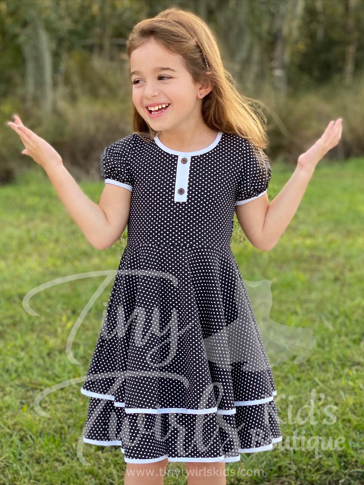 Black and White Polka Dot Double Twirl Dress - In-Stock - Tiny Twirls Kids Boutique
