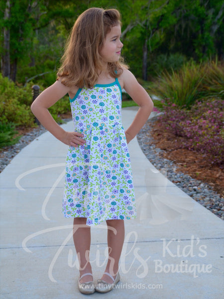 The Perfect Tank Dress, White and Teal Flowers - In-Stock - Tiny Twirls Kids Boutique