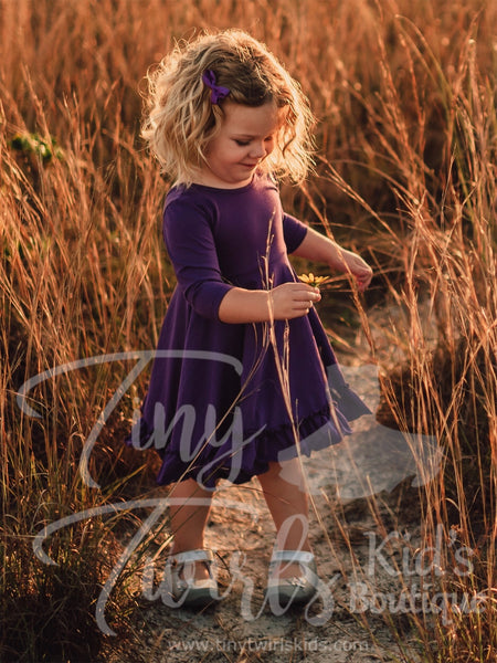 Purple 3/4 sleeve Solid Twirl Dress - In-Stock - Tiny Twirls Kids Boutique