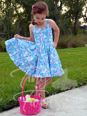 Blue Bunny Twirl Dress - Pre-Order - Tiny Twirls Kids Boutique